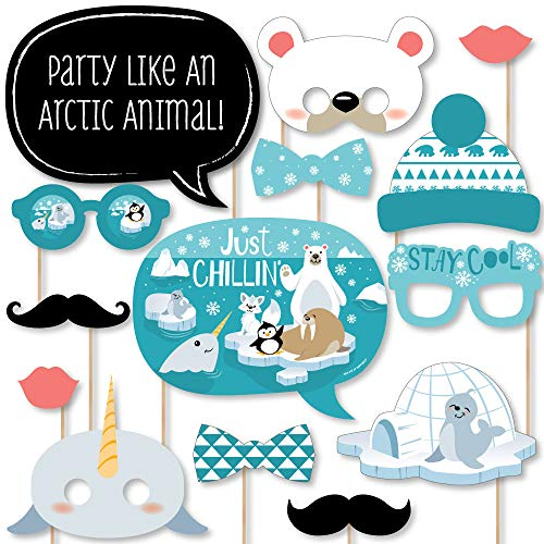 Big Dot of Happiness Arctic Polar Animals - Winter Baby Shower or Birthday Party Photo Booth Props Kit - 20 -