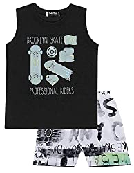 Toddler Boy Outfit Tank Top Muscle Shirt and Shorts 2-piece Set 1 Year - Black