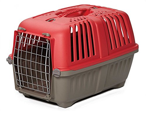 Plastic Travel Cage (Pet Carrier: Hard-Sided Dog Carrier, Cat Carrier, Small Animal Carrier in Red| Inside Dims 17.91L x 11.5W x 12H & Suitable for Tiny Dog Breeds | Perfect Dog Kennel Travel Carrier for Quick Trips)