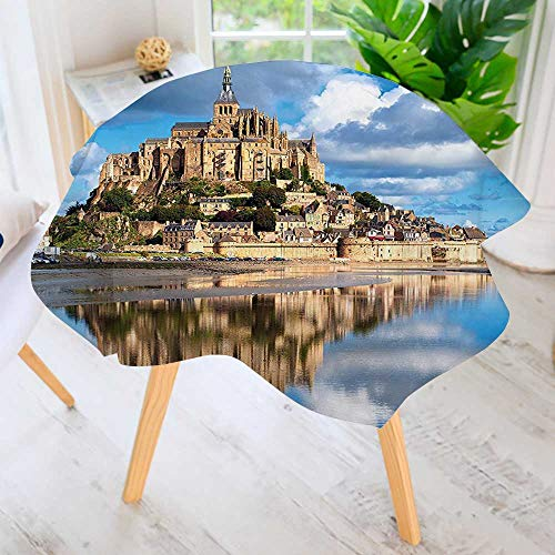 Collection Cross Renaissance (UHOO2018 Round Premium Tablecloth for Wedding/Banquet/Restaurant-Collection French Castle on The Sea Fairy Photo of Renaissance Historical Cultural Heritage Polyester Fabric Table Cloth 71