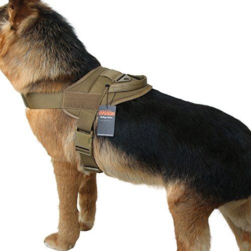 EXCELLENT ELITE SPANKER Tactical Dog Vest Military Patrol K9 Service Dog Harness Adjustable Nylon Dog Harness with Handle(Brown-S)