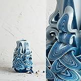 Premium Carved Candle Blue & White Decorative Handmade Judaica Yahrzeit Shabbat 1 Wick - EveCandles
