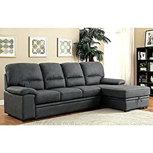 1PerfectChoice Alcester Sectional Sofa Pull-Out Sleeper Bed Chaise Underneath Storage Graphite