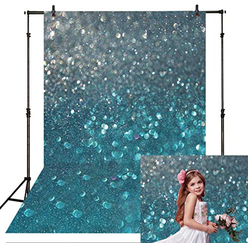 Allenjoy 5x7ft Bokeh Blue and Silver Glitter Spots Photography Backdrop Unicorn or Mermaid Theme Birthday Party Banner Decor Backdrop Newborn Baby Portrait Selfie Background Photo Booth -