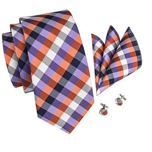 Barry.Wang New Design Plaid Necktie Set for Men,Purple Orange,One Size
