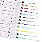 Luxbon 12 Pack Permanent Fabric Markers Pens Color Art Markers Dual Tip Minimal Bleed Stained Graffiti Coloring Textile Paint Pens for T-shirt Canvas Shoes Bags DIY Non-toxic & Children Safe