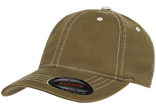 Flexfit Original Contrasting Stitch Blank Hat Baseball Cap Fitted Flex Fit 6386 Large/Xlarge - Loden/Stone
