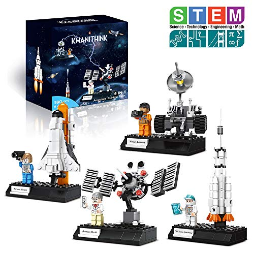 KWANITHINK Building Toys for Kids, 4 in 1 Space Shuttle Building Kit with Rocket, Satellite Lunar Lander and Astronaut Minifigures, STEM Educational Toys for Toddler, New 2019 (Space Shuttle Building Kit)