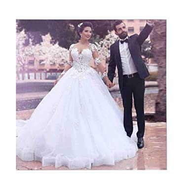 Xingmeng Beautiful V Neck Lace Tulle Ball Gown Wedding Dress Lace Up