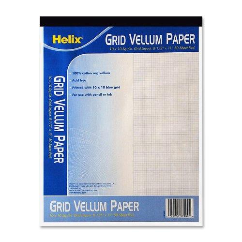 Helix Vellum Pad, 10 x 10 Grid, 8.5 x 11 Inch, 50 Sheets, White (37999)