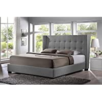 SDS LINEN MODERN BED WITH UPHOLSTERED HEADBOARD (Gray, King)