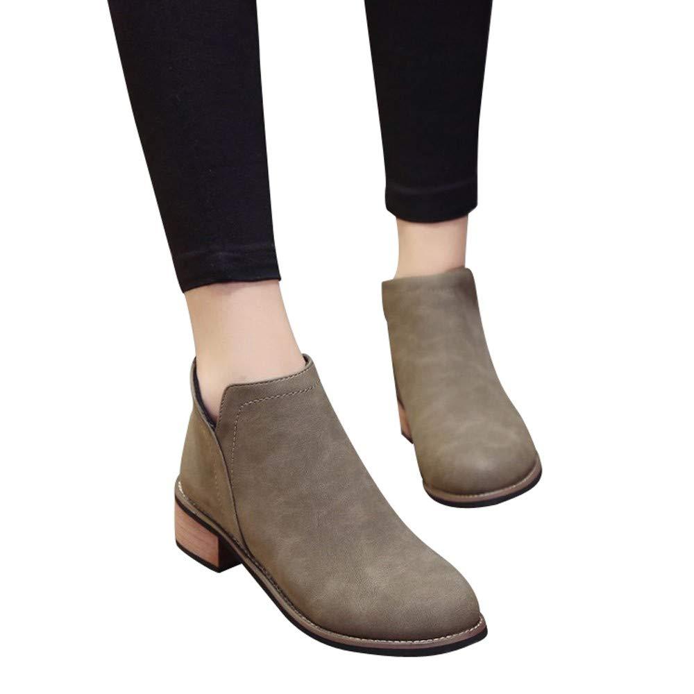 Longra☛☛❤❤ Las Mujeres más Populares Martin Boots Botines Scrub Thick Heel Lady Plat Boots