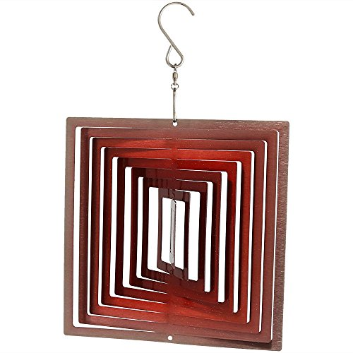 Sunnydaze Decor Square Wind Spinner with Hanging Hook, Metal 3D Ruby Red, 6 Inch - for Outdoor Garden, Yard, and Patio