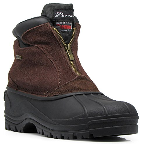 Enzo Romeo HYN Mens Winter Heavy Duty Leather Snow Boots Cold Weather Thermos Rubber Sole Oxfords Work Shoes Brown_zipper B3tc9Qk78H