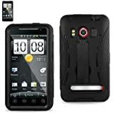 HTC Evo 4G Case - Nabster Double Layer 2 in 1 Impact Resistant Hybrid Case with Built-in Kickstand for HTC Evo 4G/HTC Supersonic/ A9292 / PC36100 (Sprint) (BLACK/BLACK)