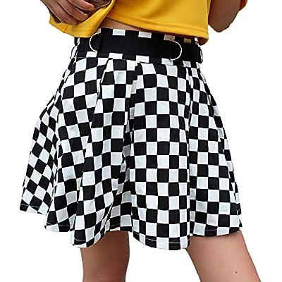 malianna Women Black and White Plaid Checkerboard High Waist Skirt Streetwear Cotton Skirts Dancing Short Mini Skirts