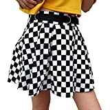 malianna Women Black and White Plaid Checkerboard High Waist Skirt Streetwear Cotton Skirts Dancing Short Mini Skirts (S)