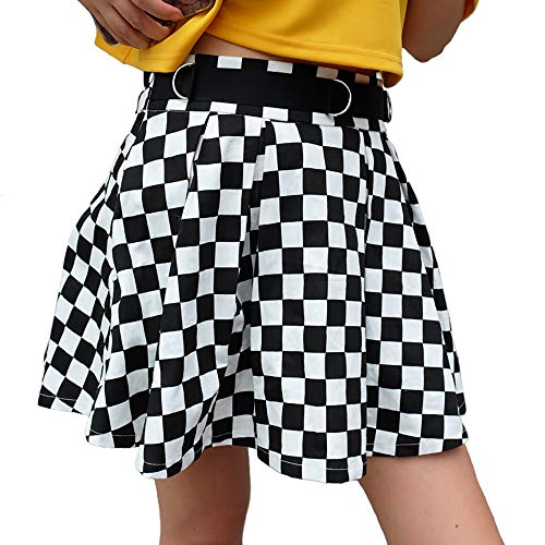malianna Women Black and White Plaid Checkerboard High Waist Skirt Streetwear Cotton Skirts Dancing Short Mini Skirts (L)