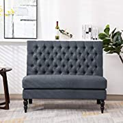 Andeworld Modern Tufted Button Back Upholstered Settee Loveseat Grey for Dining Room Hallway or Entryway Seating
