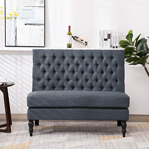 (Andeworld Modern Tufted Button Back Upholstered Settee Loveseat Grey for Dining Room Hallway or Entryway Seating)