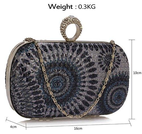 Design Pattern 1 Clutch Bag Black Luxury Handbag Evening Color Sequin High Quality With Multi Peacock Chain Designer Women 1waqgxadZ