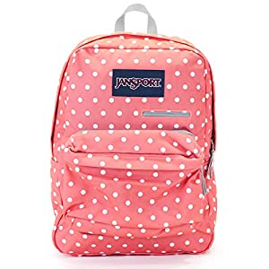 Jansport Digibreak Backpack (coral sparkle/white dots)