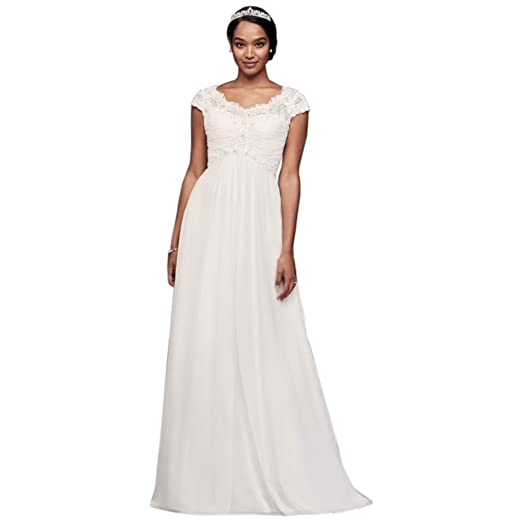67edf525ff David's Bridal Cap Sleeve Lace and Chiffon Wedding Dress Style WG3873, Soft  White, ...