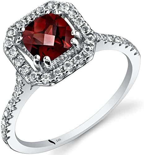 14K White Gold Garnet Cushion Cut Halo Ring 1.00 Carats Sizes 5 to 9