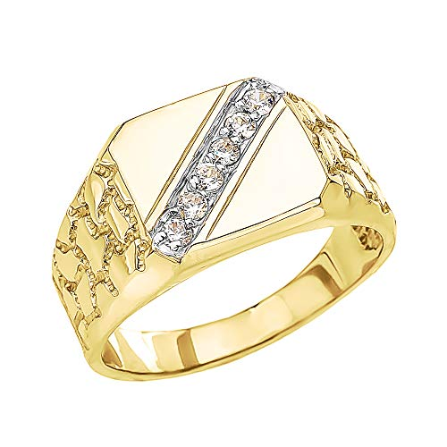 - Men's Fine 14k Yellow Gold Signet Diamond Nugget Ring (Size 13)