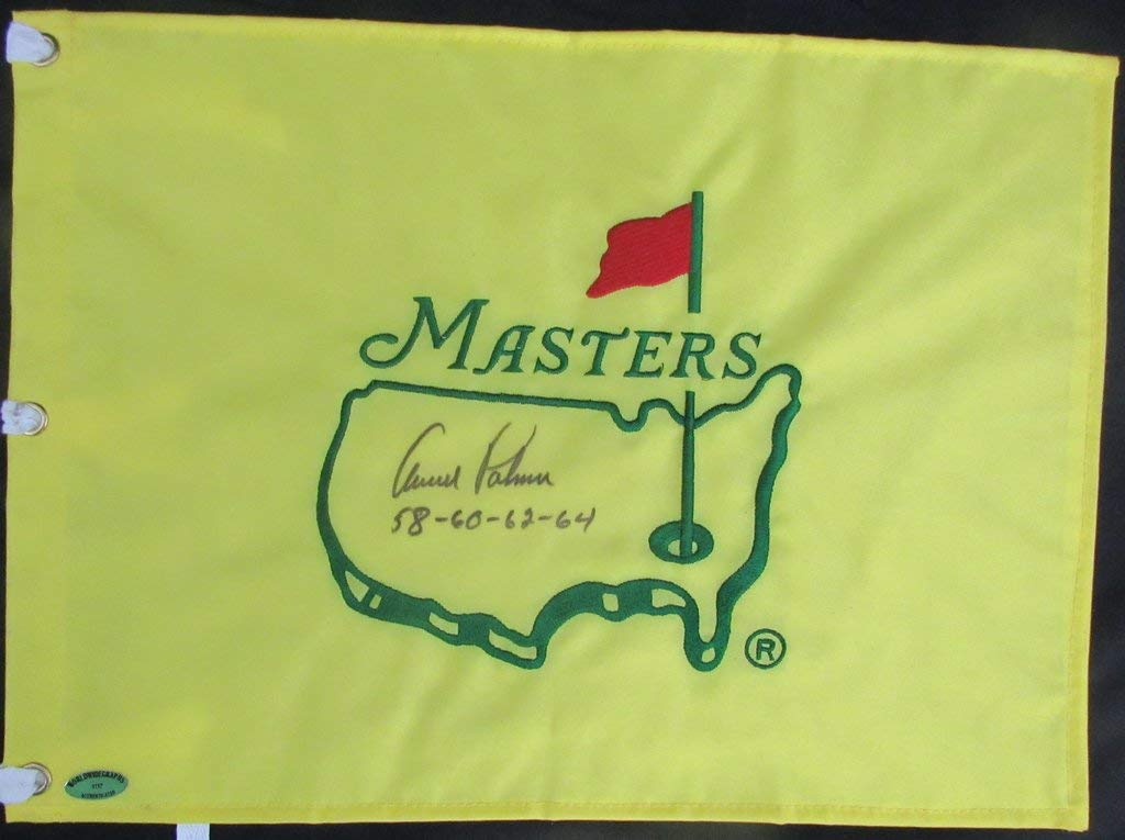 """Arnold Palmer Undated with Win Years""""58 60 62 64"""" Masters Pin Flag BAS 138334"""