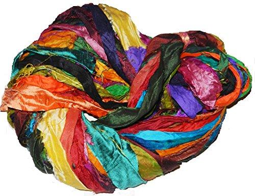 Silk Sari Yarn Recycled (Sari Pure Silk 100g Ribbon Yarn Multi Flash-recycled Sari Silk Ribbon Yarn)