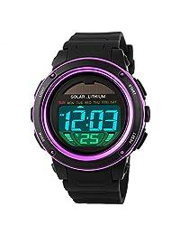 Kid's Girls Lovely Multifunction Sports Watch 50M Water Resistance Digital Backlight Wrist Watch Purple