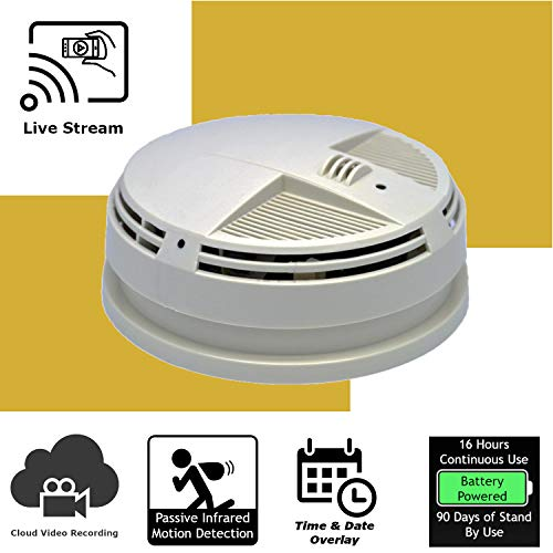 Discover IT | Wi-Fi Hidden Camera Spy Cam Home Surveillance Nanny Cam Smoke Detector (Bottom View) with Cloud Video Recording, Battery Operated (Smoke Detector Bottom)