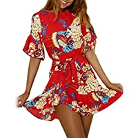 Twinsmall Womens V Neck Stretchy Strap Floral Beach Style Skater A Line Mini Dress Flower Dresses