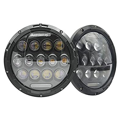 Night Fire 7 Inch Round Black LED Projection 150W Headlight Fit For Jeep Wrangler JK TJ Hummer Harley w/DRL