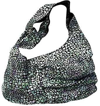 Kaizer KB2200BS Leather Hobo Bag for Women - Bluish Silver