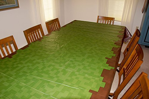 "Pixel Miner Crafting Style Birthday Party Grass Tablecloth (108"" x 54"") - Fun, Versatile Table Cover for Inside or Outside, Wipes Clean in Seconds, Birthday Supplies Made from Recycled Materials"