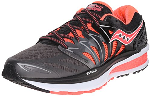 Saucony Women's Hurricane ISO 2 Running Shoe, Black/Charcoal/Coral, 7.5 M US