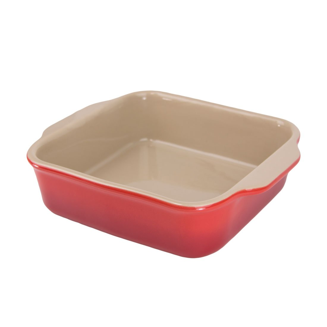 """American Bakeware 7"""" x 7"""" Square Casserole Baker - Non Stick Ceramic - Heat Resistant to 400 °F - No Metals or other Harmful Materials - Safe for Oven, Microwave, Dishwasher - Made in the USA"""