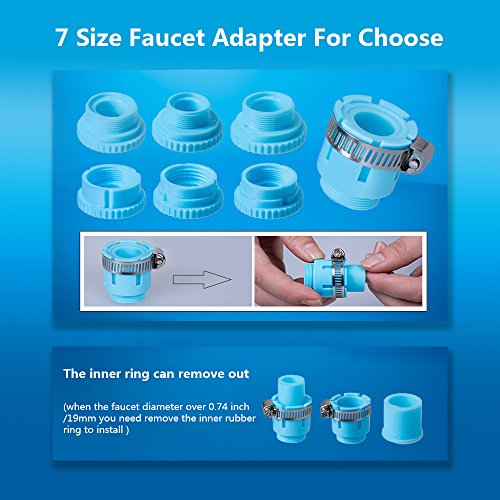 Faucet Water Filter,Tap Water Purifier Filter with 7 size Faucet interface for Kitchen And Bathroom Sink, Carbon Filter with 0.01 Micron 7 Stage Filtration Ceramics Filter Lasts 3-6 Months by Tongtu (Image #4)