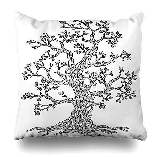 (Ahawoso Throw Pillow Cover Meditation Green April Doodle Tree Coloring Book Adult Raster for Copy Nature Black Branch Day Design Decorative Zipper Cushion Case Square 18