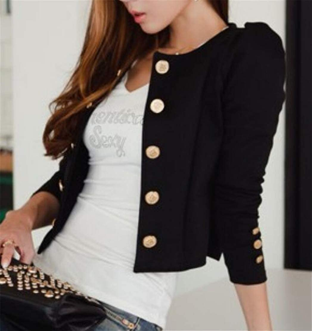 Wilngo Womens Office OL Double-Breasted Cropped Collarless Blazer Jackets Coat