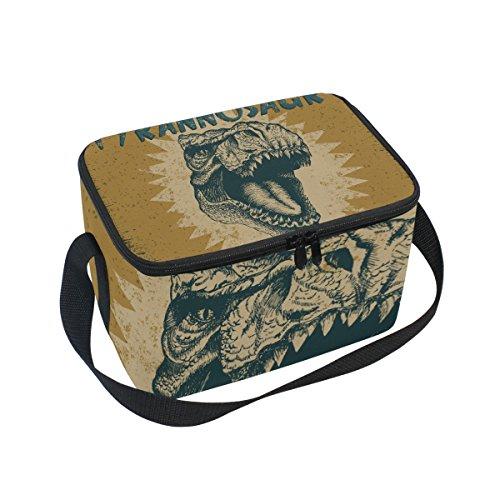 Tyrannosaurus Rex Dinosaur Pattern Print Insulated Lunch Bag Box Cooler Bag Reusable Tote Bag Outdoor Travel Picnic Bags (Box Pattern Planter)