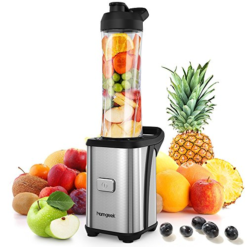 Homgeek Personal Mini Blender Smoothie Maker, Smoothie Single Serve Blender Portable Juicer Cup, Electric Power Mixer Fruit and Vegetable Single Serve,with Travel Lid and Tritan Travel Sport Bottle