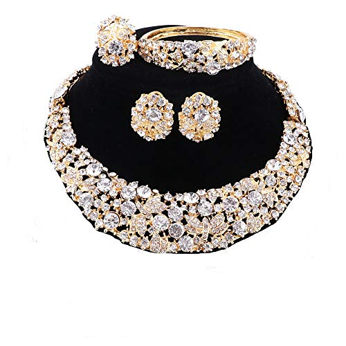 OUHE Jewelry Sets for Women Crystal Inlay Necklace Earrings Ring Bracelet Bridesmaid Costume Show Wedding (Gold White)
