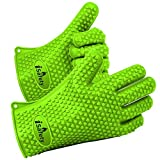 Cooking Gloves Heat Resistant #1 iSafety BBQ Silicon (1 Pair) – Heat & Burn Resistant Best Use for Kitchen Cooking High Temperature Food, Grilling, Microwave Oven or Baking Can Aslo Be Use As Pot Holder, Fully Protected Avoid Accidents with Insulated Waterproof Five Fingured Grip (One Size Fits Most) Green Review