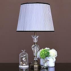 DMMSS White Lattice Stripe Shade Crystal Table Lamp