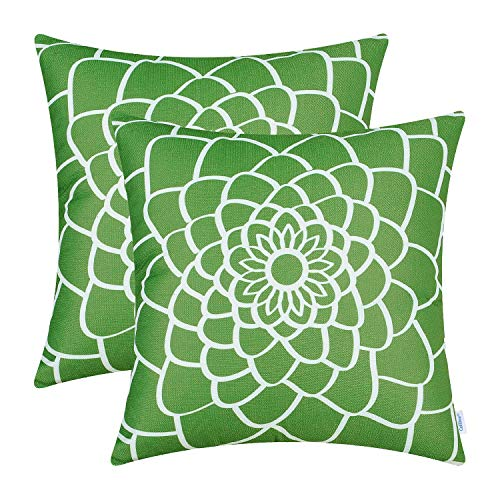 Contemporary Accent Pillows - CaliTime Pack of 2 Soft Canvas Throw Pillow Covers Cases for Couch Sofa Home Decor Dahlia Floral Outline Both Sides Print 20 X 20 Inches Olive Green