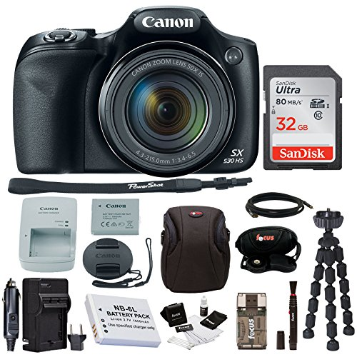 Canon Powershot SX530 HS Camera with 32GB Deluxe Accessory - Dealers Authorized Canon