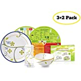 """Portion Control Kit from Precise Portions - Complete Glassware & Porcelain 1 Place Set - 9"""" Plate with Dividers - 18 oz Bowl - Drinking Glass - Healthy Eating Right Food Guide & Nutrition Discs - Great Tool for Weight Loss - Adults & Big Kids"""